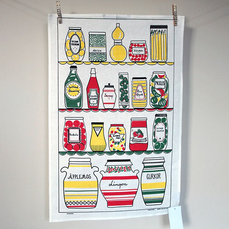 Swedish Pantry Designer Vintage Cotton/linen Tea Towel, Featuring Retro  Jars And Bottles In A Pantry