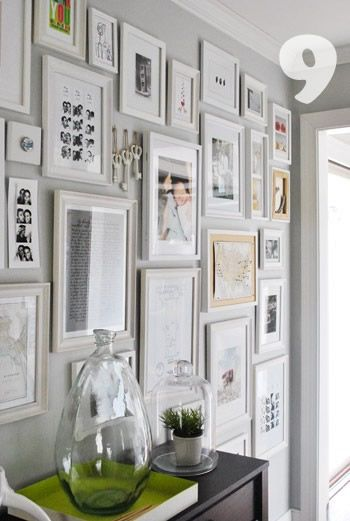 Off white frames on subtle gray wall.: Interior, Idea, Photo Wall, Gallery Walls, Gallerywall, White Frames