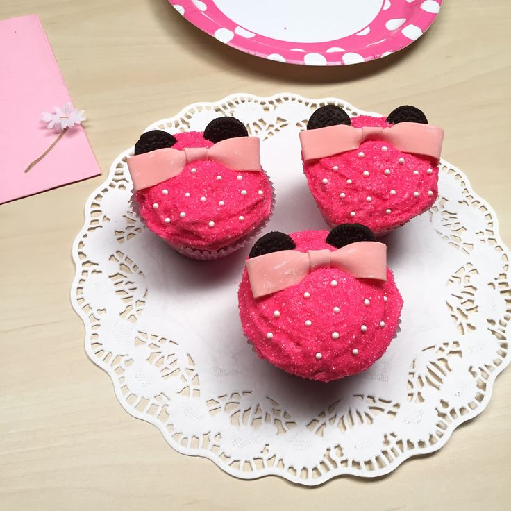Create and enjoy this Minnie Mouse-inspired cupcake for a sweet treat that never goes out of style! | Get the full recipe on Disney Family | [ http://family.disney.com/recipe/minnie-mouse-cupcakes ]