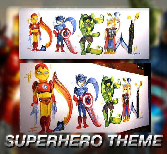 Hey, I found this really awesome Etsy listing at https://www.etsy.com/listing/183755173/superhero-avengers-marvel-name-painting