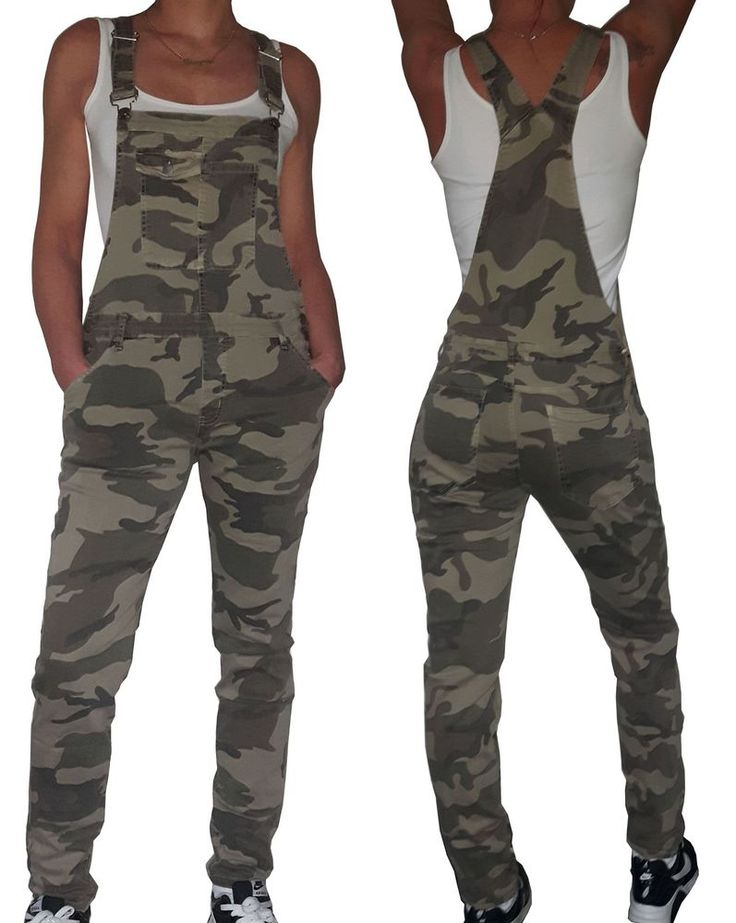 NEU Latzhose Damen Camouflage Overall Latzjeans Jumpsuit 36 38 40 42 Salopette