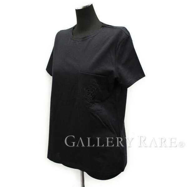 エルメス Tシャツ 半袖 ブラック レディースサイズ38 HERMES 服 黒 刺繍ポケット エンブロイダリー