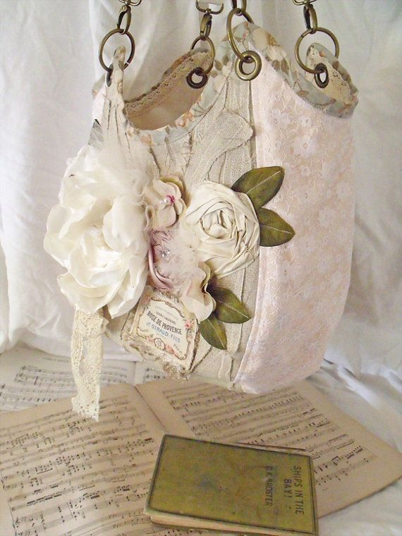 beautiful shabby chic rose purse