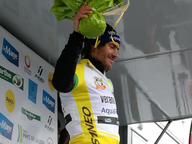Justin Jules on the opening stage podium after winning Circuit Cycliste Sarthe  - Pays de la Loire