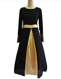 Chiffon Vestito Da donna-Taglie forti Vintage Collage Rotonda Maxi Manica lunga Nero / Grigio / Verde Poliestere Autunno A vita medio-alta – EUR € 32.33