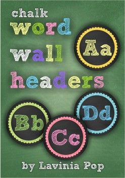 "Chalk Word Wall Headers: FREE for the next 24 hours ONLY!.....Follow for Free ""too-neat-not-to-keep"" teaching tools & other fun stuff :)"