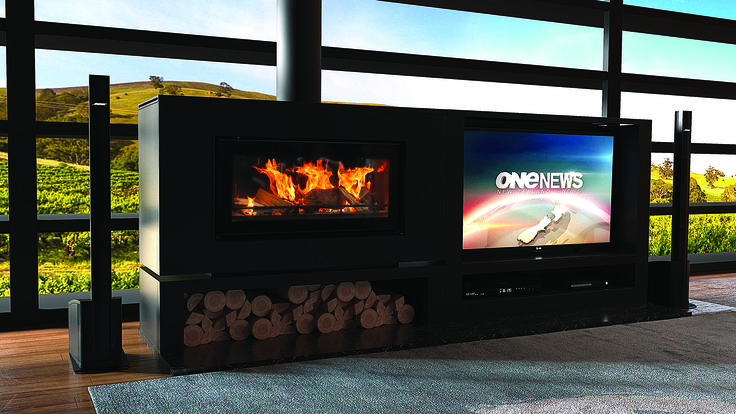 Stovax Studio 2 Clean Air in Freestanding Zero Clearance Box with the Side-by-Side Firestand & TV Cabinet