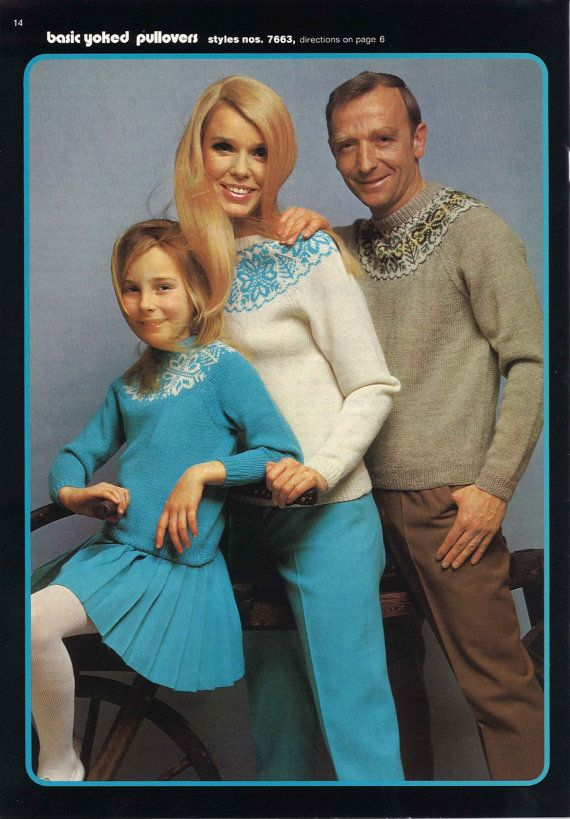 Snowflake Sweaters • 1970s Retro Fair Isle Men's Women's Children's Sweater Pattern • Vintage 70s Kid's Knitting Patterns • Digital PDF File