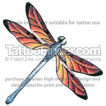 Sunset Dragonfly tattoo design by Gail Somers