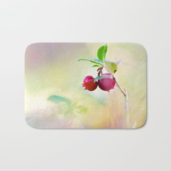 The perfect bath mats: fuzzy, foamy and finely enhanced with brilliant art. With a soft, quick-dry microfiber surface, memory foam cushion and skid-proof backing, our shower mats are a cut above your typical rug. Keep them clean with a gentle machine wash (no bleach!) and make sure to hang dry.    #cowberry #lingonberry #partridgeberry #bilberry #whortleberry #foxberry  #red #huckleberry #berry #healthy #autumn #nature #macro #harvest