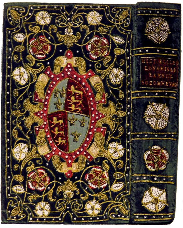 Restored 16th century binding of velvet embroidered with pearls for Elizabeth I, on a volume of church history.  http://en.wikipedia.org/wiki/Treasure_binding