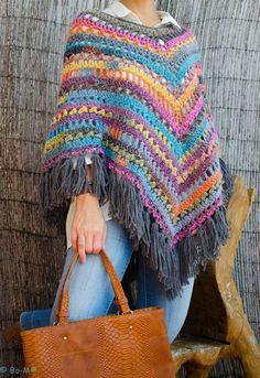 María Cielo: Ponchos tejidos crochet y dos agujas                                                                                                                                                      Más
