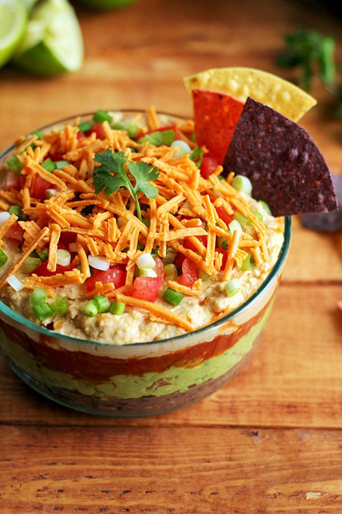 I am very very VERY excited to share this recipe with you today. I've had this idea for a veganized 7 layer dip floating around in my head for what feels like FOREVER and I've been itch…