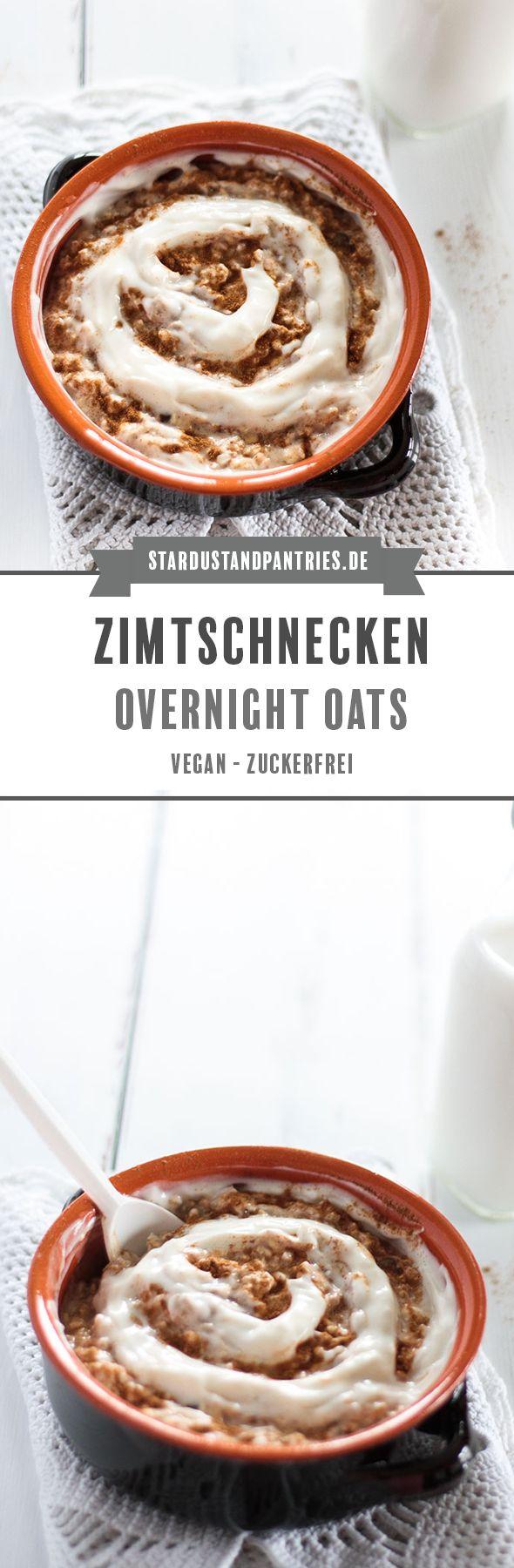 Diese veganen und zuckerfreien Zimtschnecken Overnight Oats sind das perfekte Frühstück für Morgenmuffel! So startest du zufrieden und satt in den Tag! #Overnightoats #Zimtschnecken #vegan #Frühstück