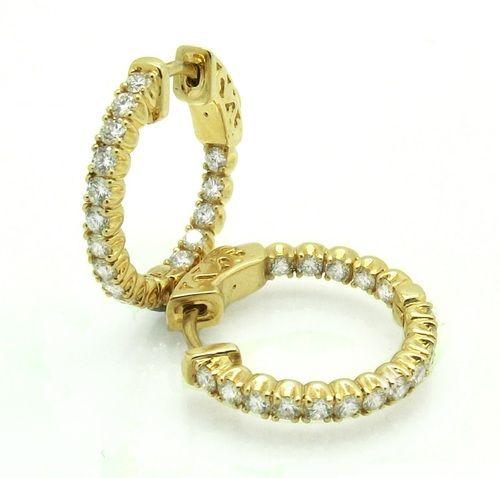Diamond Set Hinged Hoop Earrings