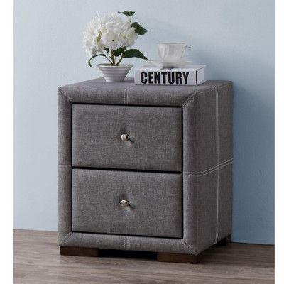 Home & Haus Sheffield 2 Drawer Bedside Table