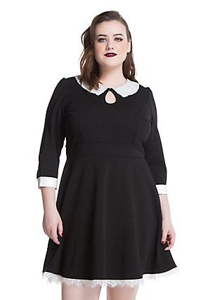 American Horror Story: Murder House Maid Skater Dress Plus Size, BLACK
