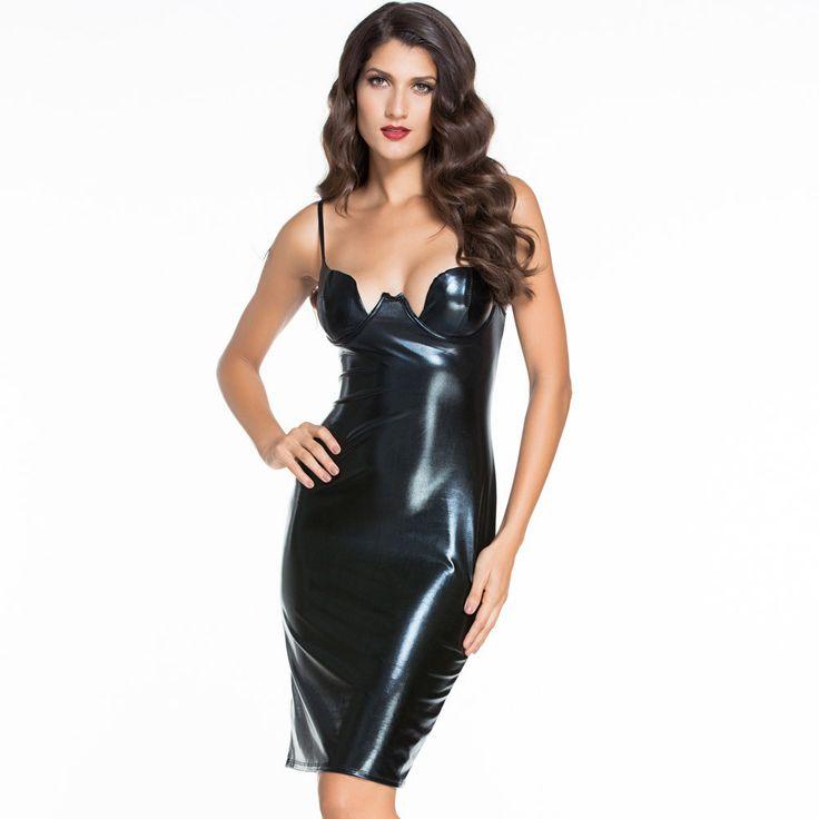 #D60577 Black Faux Leather Padded Midi Dress