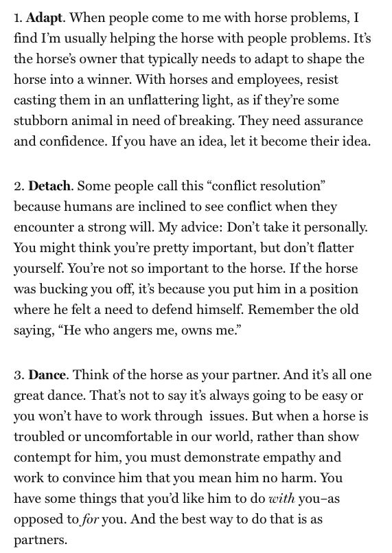ADAPT. DETACH. DANCE. Do you use these three steps of advice from Buck Brannaman with horses and humans in your daily life? Check out the full article from the Fortune Magazine archives. http://fortune.com/2011/06/17/movie-cowboy-buck-on-leadership-taming-managers-is-like-taming-horses/