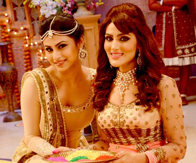 Mouni Roy with a friend at SAB TV's Diwali bash.