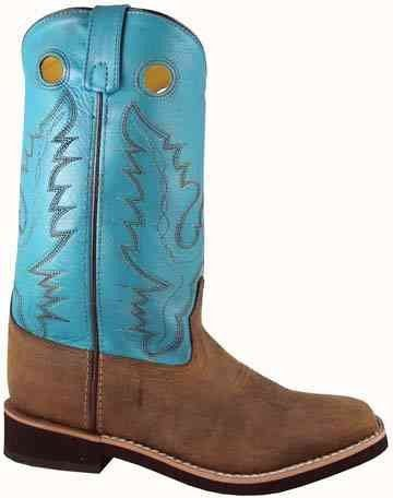 Smoky Mountain Ladies Antique Brown and Turquoise PUEBLO Western Boots for Women $60.00. Leather Upper, Two-Row Welt Stitch, Square Toe, Steel Shank, Crepe Sole.