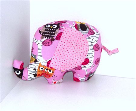 Pink Owl Patterned Elephant Soft  Toy