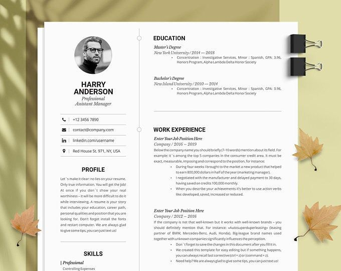 Resume Template Cv Template Editable In Ms Word And Pages Etsy Resume Template Business Resume Template Modern Resume Template