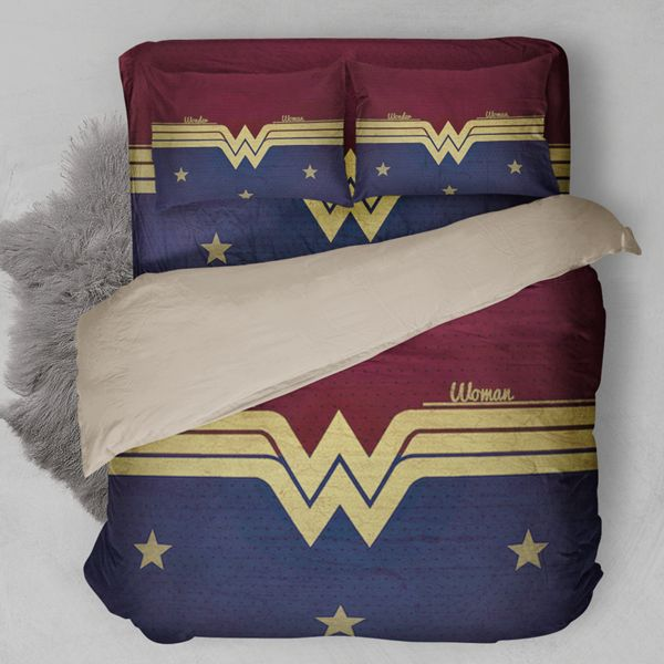 Perfect Bedding Sets for Wonder Woman Fans! Quantity: 3pcs/4pcs Difference Between 3pcs with 4pcs: 3pcs does not contain sheet/4pcs contains sheet. Fabric : Polyester Type: Duvet Cover Set (Without Comforter) Twin: 1*Duvet Cover 173cmx218cm, 2*Pillow Case 51cmx66cm Full: 1*Duvet Cover 203cmx228cm, 2*Pillow Case 51cmx66cm Queen: 1*Duvet Cover 228cmx228cm, 2*Pillow Case 51cmx91cm King: 1*Duvet Cover 264cmx228cm, 2*Pillow Case 51cmx91cm 1 inch=2.54 cm  For example: 175 cm=175...