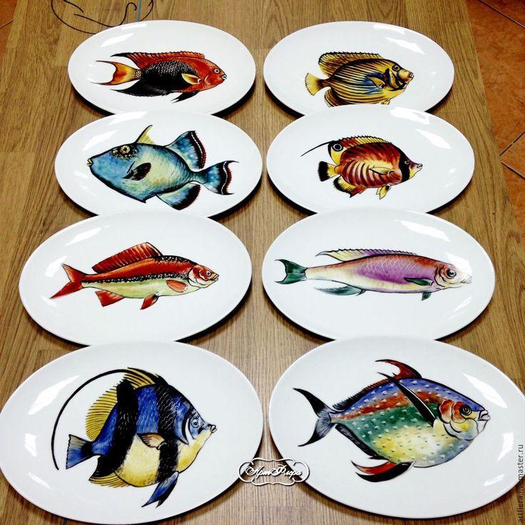 Купить Тарелки коллекция Морские рыбы - роспись фарфора, тарелка, тарелка с росписью, надглазурная роспись
