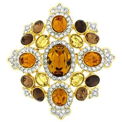 Kenneth Jay Lane Multi Topaz Maltese Cross Pin Gold/topaz qTp3P7xddI