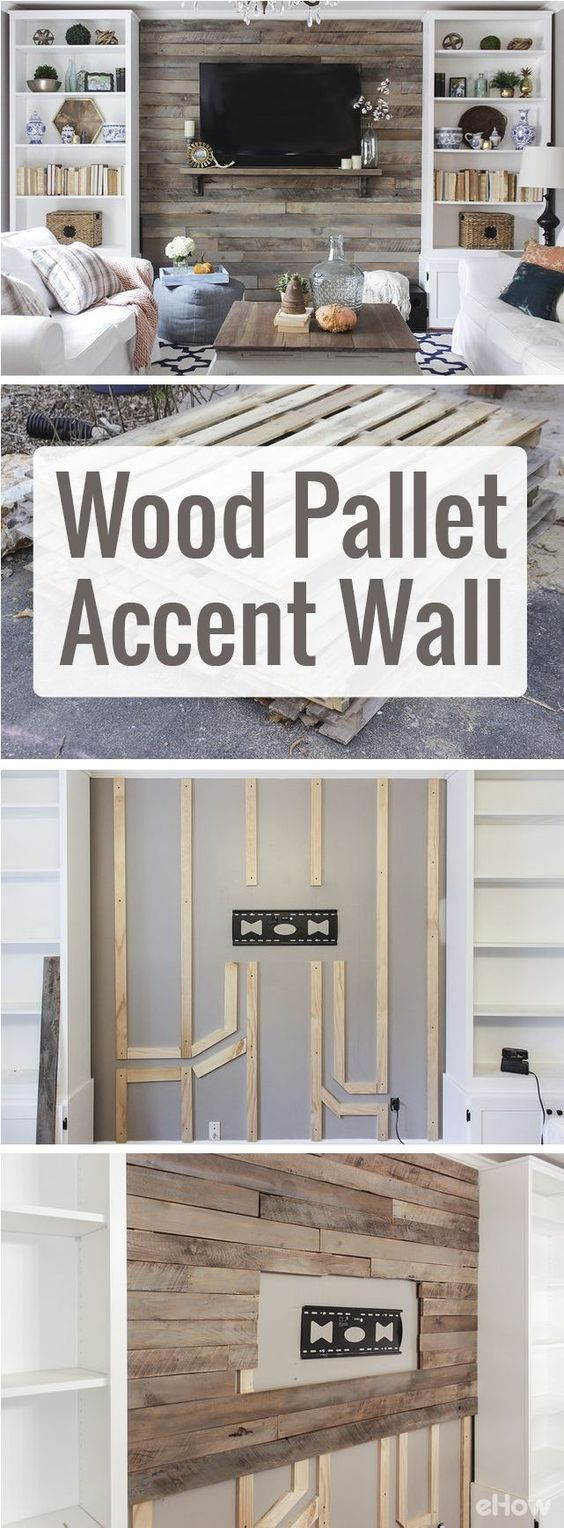 how to create a wood pallet accent wall beautiful diy wood and living rooms. Black Bedroom Furniture Sets. Home Design Ideas