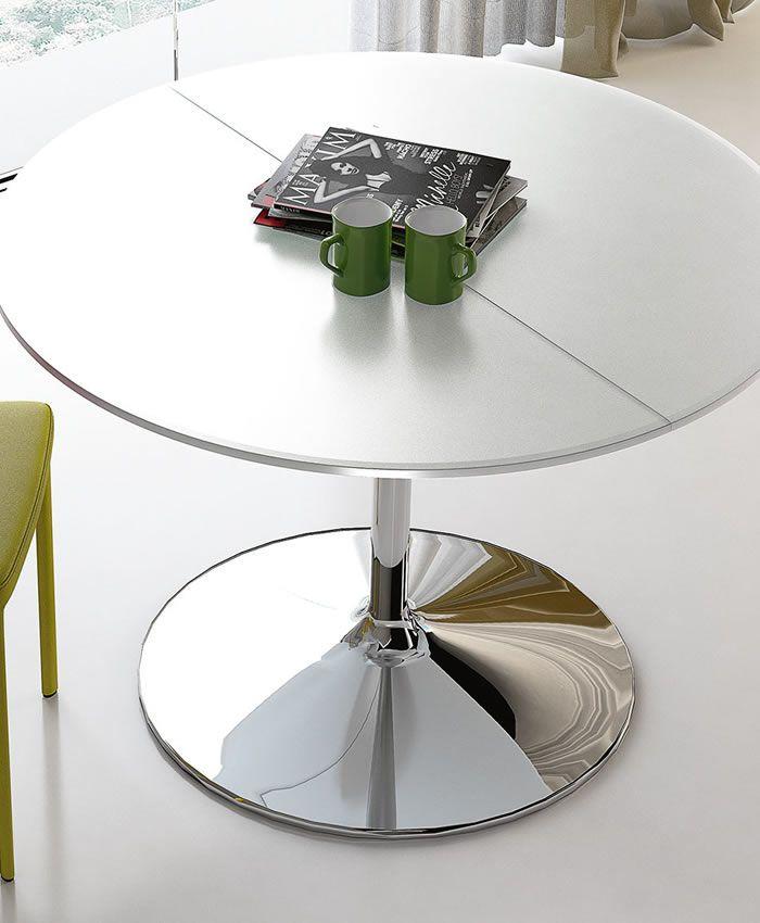 Tavoli In Cristallo Con Base In Legno.Tavolo Tondo Small Tavolo Allungabile Con Base In Acciaio Conica