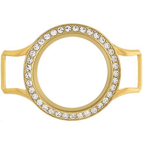 Origami Owl Custom Jewelry MEDIUM GOLD WRAP BRACELET LOCKET BASE + FACE WITH SWAROVSKI CRYSTALS $32.00