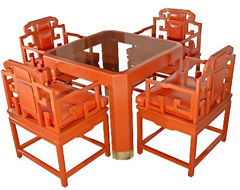 Chinoiserie Orange Lacquer Set