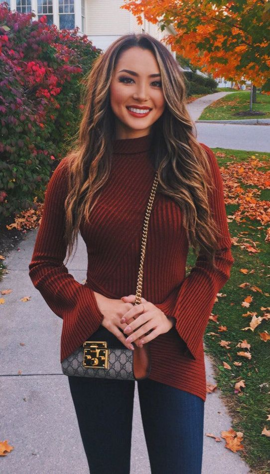 #winter #outfits women's red crew-neck trumpet-sleeve sweater. Click To Shop This Look.