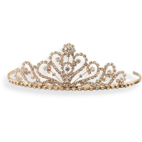 Gold Tone Crown Design Fashion Tiara ($24) ❤ liked on Polyvore featuring accessories, hair accessories, tiara comb, tiara crown, hair combs, tiara hair comb and hair combs accessories