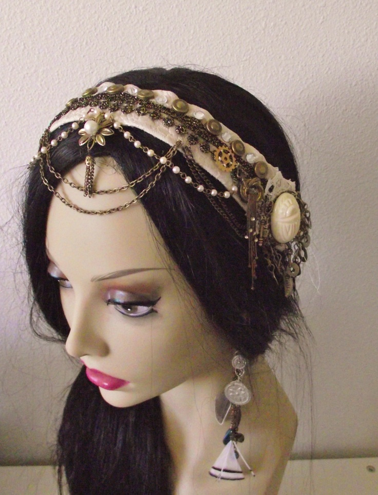 RESERVED- Steampunk Headpiece- Cream Scarab- Bellydance, Tribal Fusion, Festival, Performance, Offbeat Wedding. $45.00, via Etsy.