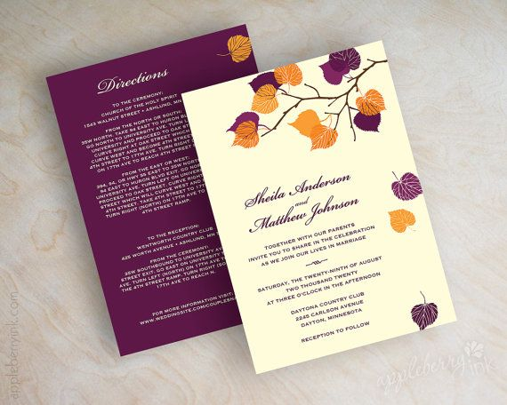 Birch tree wedding invitations, autumn wedding stationery, fall wedding invitations, fall invites, ivory orange and purple invites, Serena