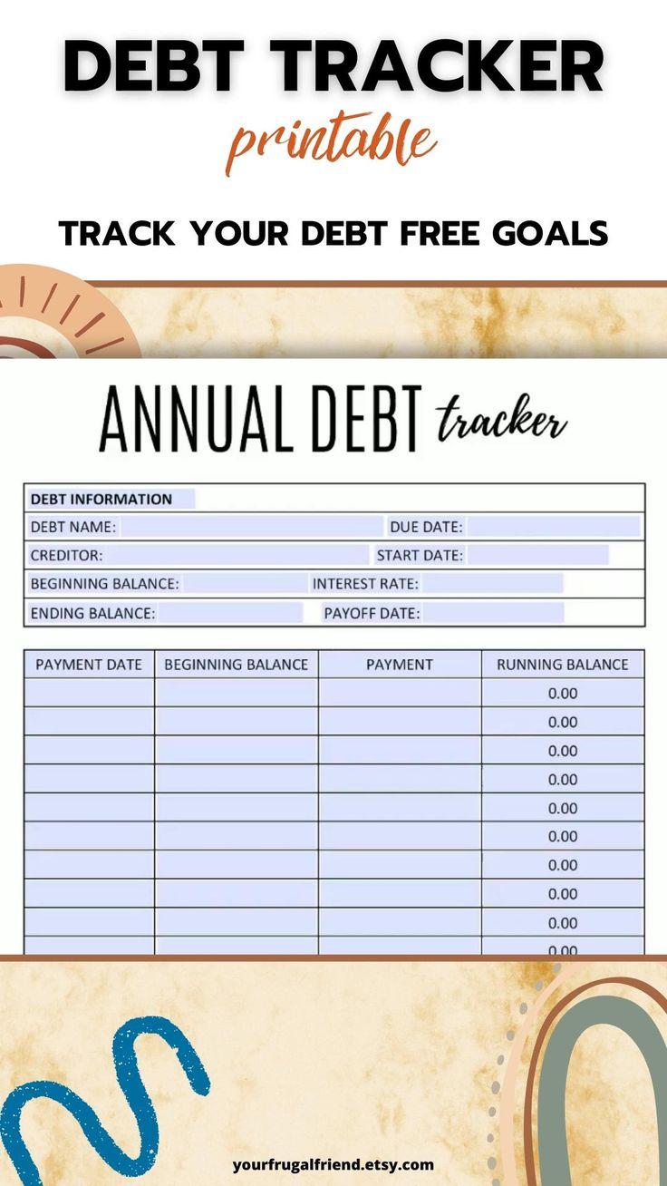 Debt Tracker Printable, Debt Payoff, Debt Free Chart, Debt