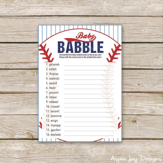 Printable Baseball Baby Shower Scramble - Baby Babble Game  ♥ Baby Babble Challenge everyone to unscramble the baby related words as fast as they can.   M A T C H I N G ⋆ I T E M S _________________________________________________ Want a few more games? Click on over to 7 BABY GAMES PACKAGE: www.etsy.com/listing/522151017  Click here to see all the BASEBALL BABY COLLECTION items: www.etsy.com/shop/AspenJayDesigns/?search_query=baseball   W H A T ⋆ Y O U ' L L ⋆ R...