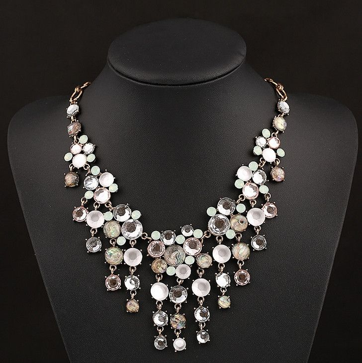 Women's Statement Necklace Party Multilayer Crystal Gemstone Alloy Translucent