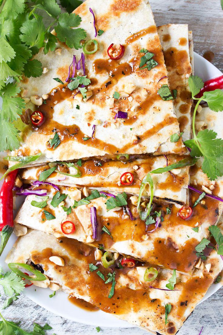 Thai Peanut Chicken Quesadillas recipe! Loaded with Sriracha and fun to make, try them tonight!