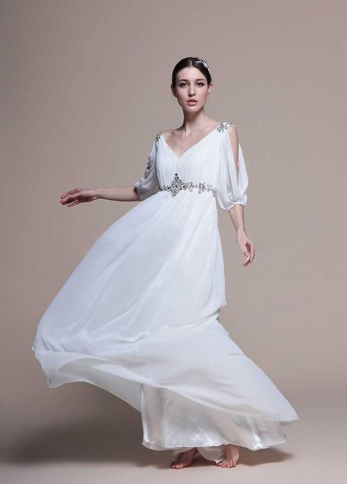 flowy sexy v neck empire waist beach wedding dress pinpoint