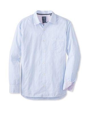 62% OFF Cooper Jones Men's Kensington Stripe Long Sleeve Woven Shirt (Soft Blue)