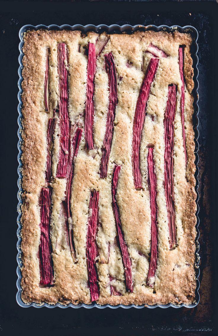 Rhubarb Almond Cake with Amaretto Cashew Cream