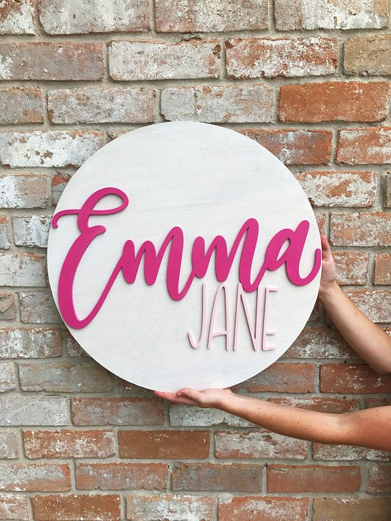 24 custom round name sign laser cut wood nursery decor nursery name