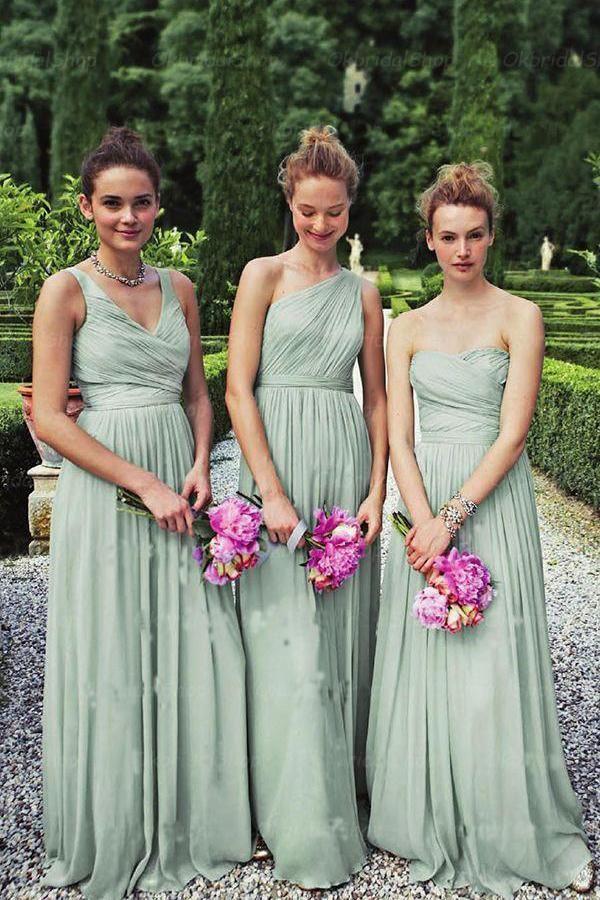 A-Line Dusty Green Long Mismatched Chiffon Prom Dress,Bridesmaid Dresses UK PH45…