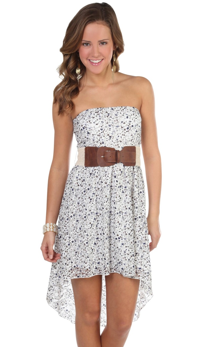 Deb Shops strapless all over #floral #lace print belted high low #dress