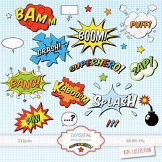 Superhero Comic Elements-Comic Book-Sound Effects-Action Words-Speech Bubbles- Set of 21 Super Hero pop art elements-Superhero Cartoons