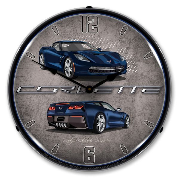 Antique Style C7 Corvette Torch Red Backlit Clock 129 99 Corvette Clock Clock Neon Clock